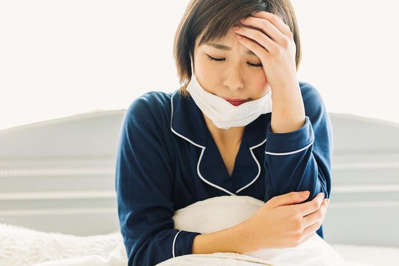 インフルエンザで寝込む人